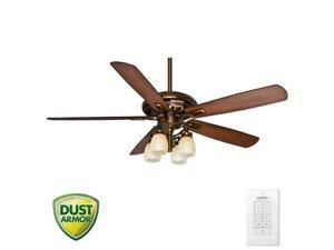 59536 60 in. Transitional Holliston Gallery Bronze Patina Walnut Indoor Ceiling Fan