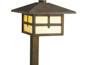 Progress 1-Light Landscape Light Honey Art Glass in Weathered Bronze - P5261-46