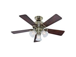 53080 42 in. Beacon Hill Bright Brass Finish Ceiling Fan with Light