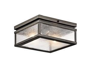Kichler 49389 Manningham 2-Bulb Semi-Flush Outdoor Ceiling Fixture, Olde Bronze