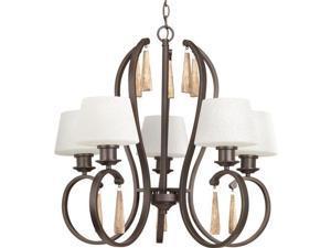 """Progress Lighting P4528 Club 5 Light 26.75""""W 1 Tier Chandelier, Antique Bronze"""