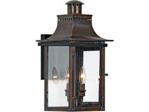 Quoizel 2 Light Chalmers Outdoor Wall Lanterns, Aged Copper - CM8410AC