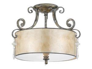 Quoizel 3 Light Kendra Semi-Flush Mount in Mottled Silver - KD1716MM