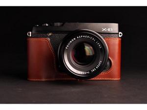 TP original Leather body half case for Fujifilm X-E1 Fuji XE1(Brown)