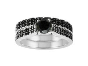 Sterling Silver 1 1/2ct twt Black Diamond Bridal Set