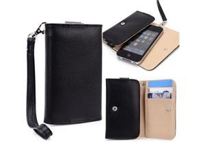 Black Leather Folding Purse Clutch Wallet Case Cover for Smartphones