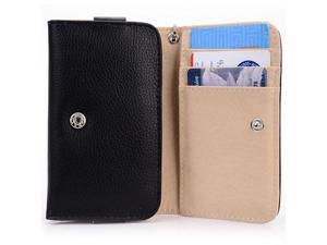 Folding Flip Wallet Case Cover for Smartphones - Clutch Purse Style with Wrist Strap & Card / ID Slots with Seperate Compartment for Money