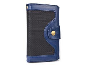 Blue Universal BiFold Wallet with Snap Button Strap for Unnecto Breeze, Storm Smart Phones