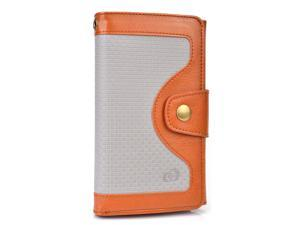 Brown Universal BiFold Wallet with Snap Button Strap for Unnecto Quattro Z, Quattro ZL Smart Phones