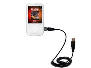 Coiled USB Cable compatible with the Sandisk Sansa Fuze Plus