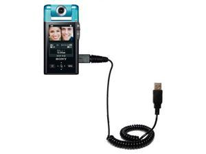 Coiled USB Cable compatible with the Sony Bloggie Camera CM5
