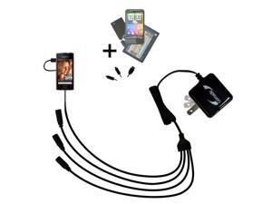 Quad output Wall Charger includes tip for the Sony Ericsson Xperia ray