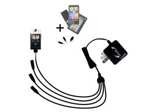 Quad output Wall Charger includes tip for the Sony bloggie MHS-CM5 Mobile HD Snap