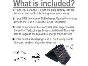 SunVolt Solar Charger compatible with the Hisense Sero 7 Pro M470BSA and one other device - charge from sun at wall outlet-like