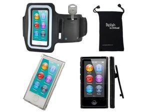 iPod Nano 7 or 8 Case - DigitalsOnDemand Case Bundle for Apple iPod Nano 7th / 8th Generation 7G 8G - Slim Clear Hard Shell Cover, Black TPU Case with Clip, Sports Armband, Travel Bag