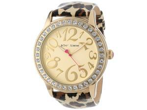 Betsey Johnson BJ00217-01 Champagne Dial Leather Strap Women's Watch