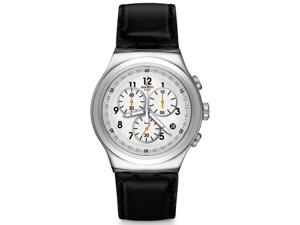 Swatch YOS451 L'Imposante White Dial Leather Strap Chrono Men's Watch