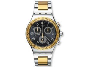 Swatch YVS427G Golden Youth Black Dial Two Tone Chrono Men's Watch