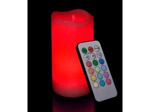 Candle Choice Round Melted Edge Remote Controlled Multi Color Changing Flameless Wax Pillar Candle, Made with Real Wax, 6 Inch Tall