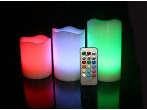 Candle Choice Set of 3 Round Melted Edge Remote Controlled Multi Color Changing LED Flameless Wax Pillar Candles