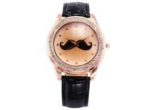 Timebear Black Leather Elegant Crystal Mustache Lady Girl Rose Gold Analog Quartz Watch WAA510