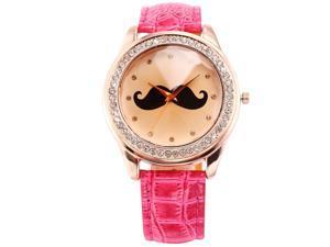 Timebear Rose Gold Bling Crystal Mustache Ladies Women Fuchsia Leather Quartz Wrist Watch WAA514