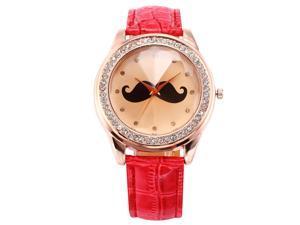 Timebear Rose Gold Case Bling Crystal Mustache Ladies Women Analog Quartz Wrist Watch WAA515