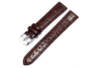 KS 18mm Military Brown Genuine Leather Mens Replacement Watch Band Straps