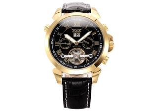 Mens Leather Tourbillion Automatic Mechanical Classic Mens Wrist Watch Golden