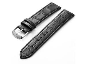 KS 20mm Black Genuine Leather Mens Replacement Watch Band Straps