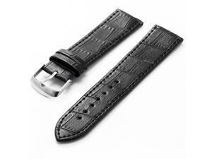 KS 22mm Military Black Genuine Leather Mens Replacement Watch Band Straps