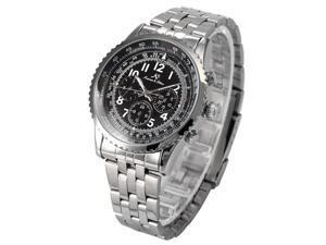 KS Aviator Date Day Black Dial Men Automatic Mechanical Stainless Steel Wrist Watch KS098