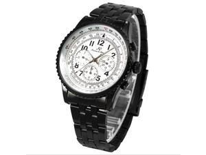 KS Aviator 6 Hands Date Watch Dial Black Band Men Automatic Mechanical Wrist Watch KS101