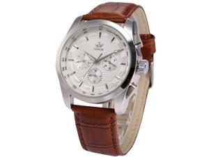 Timebear  White Dial Automatic Date Day Mechanical Mens Brown Leather Band Wrist Watch PMW355