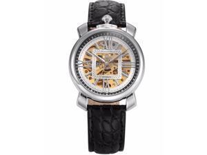 Mens KS292 Analog Mechanical Auto Skeleton Dial Leather Band Wrist Watch