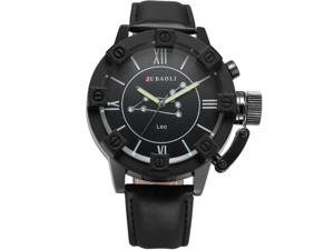 Mens WAA803 Analog Quartz Leo Black Leather Wrist Watch
