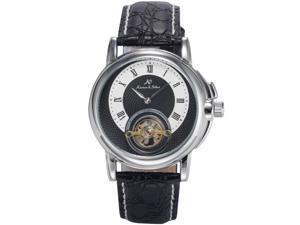 KS Mens KS216 Analog Mechanical Auto Bridge Dial Black Leather Wrist Watch