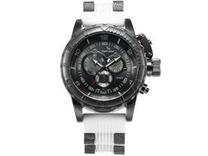 Mens WAA789 Analog Quartz Black Dial White Rubber Band Wrist Watch