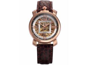 KS Mens KS294 Analog Mechanical Auto Skeleton Dial Leather Band Wrist Watch