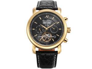 KS Mens Wrist Watch Elegant KS369 Self-winding Mechanical Day/ Date Month/Year Display Leather Band Black