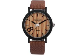 Men's WAA775 Analog Quartz Wood grain Dial Brown Band Wrist Watch