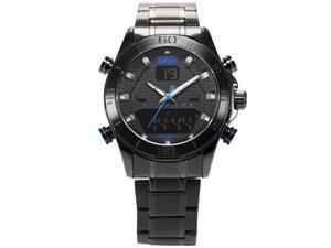 Shark Army SAW165 Mens Military Steel Band Dual Time Zone Day Date Display Quartz Watch