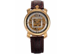 KS Mens KS293 Analog Mechanical Auto Skeleton Dial Leather Band Wrist Watch