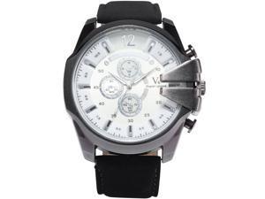 Men's WAA764 Analog Quartz Big Case White Dial Leather Band Wrist Watch