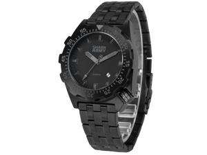 SHARK ARMY Men's SAW189 Analog Quartz Stainless Steel Band Wrist Watch Date/Waterproof + Iron box