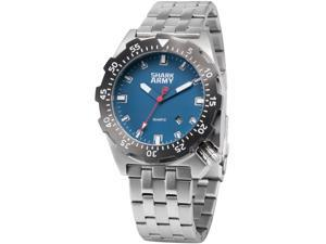 SHARK ARMY Men's SAW188 Analog Quartz Stainless Steel Band Wrist Watch Date/Waterproof + Iron box