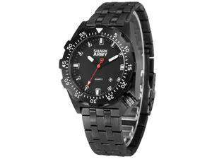 SHARK ARMY Men's SAW190 Analog Quartz Stainless Steel Band Wrist Watch Date/Waterproof + Iron box