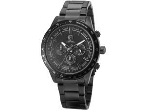 Shark Mens SH285 Quartz 3D Black Dial Chronograph 24-hour Display Black Steel Wrist Watch
