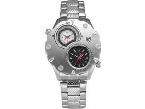 Shark Mens SH298 Dual Time Zoon Quartz Stainless Steel Silver Wrist Watch