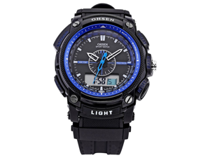 Ohsen LCD Dual Core Mens Women Sport Date Day Blue Stopwatch Black Rubber Watch Gift
